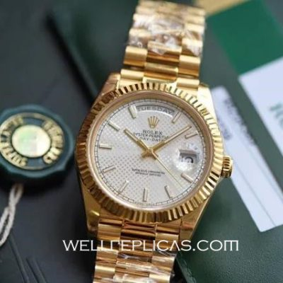Man Rolex Day-Date Switzerland Movement 18K Gold Silver Dial Stainless Steel