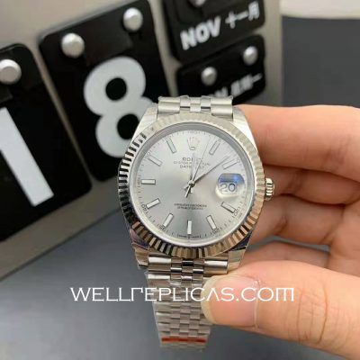 Mens White Dial Rolex Datejust 41mm Case Movement