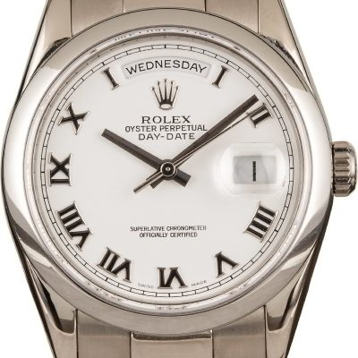 Imitation Rolex Rolex Day-date 118209 White Dial 18k White Gold