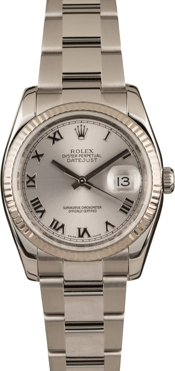 Fake Gold Watchesrolex Steel Datejust 116234 Rhodium Roman Dial