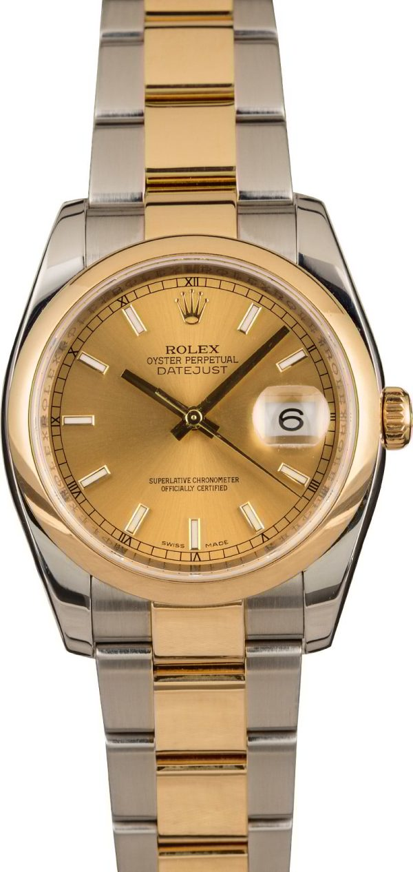 Best Replica Watches Review Rolex Two Tone Datejust 116203 Champagne Dial