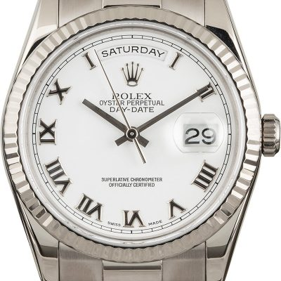 Men Fake Rolex President 118239 White Gold Automatic 3155 Movement