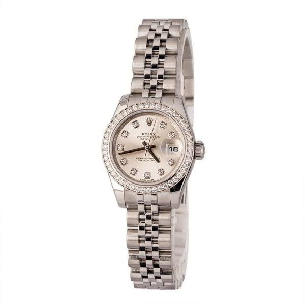 Silver Ladies Replica Rolex Datejust 179384 Diamond Bezel