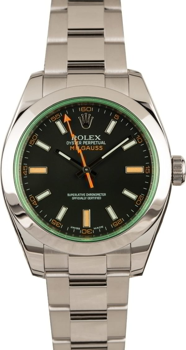 Automatic 3131 Men Replica Rolex Milgauss 116400v Smooth Bezel 40mm