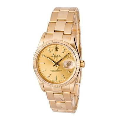 Automatic 3135 Replica Rolex Date 15238 Dial Champagne 18k Yellow Gold