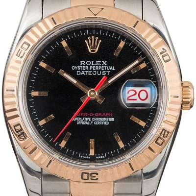 18k Rose Gold Oyster Men Replica Rolex Datejust 116261 Dial Black