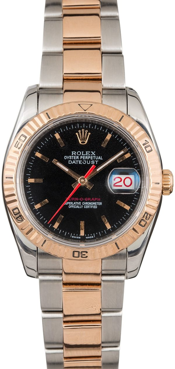 18k Rose Gold Oyster Men Replica Rolex Datejust 116261 Dial Black