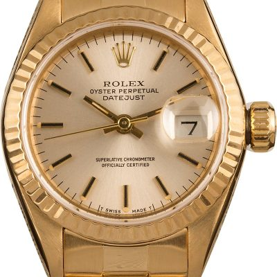 Ladies Replica Rolex Datejust 69138 Case 26mm 18k Yellow Gold