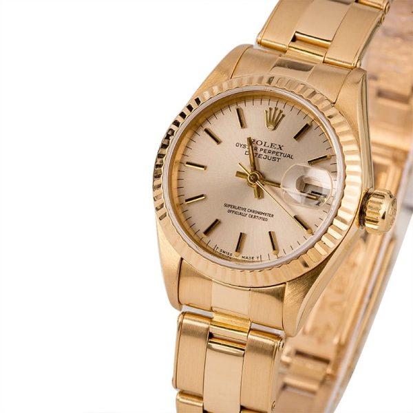 Ladies Replica Rolex Datejust 69138 Case 26mm 18k Yellow Gold