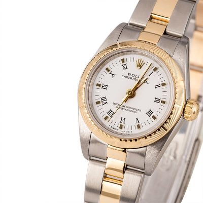 Yellow Gold Ladies Replica Rolex Oyster Perpetual 76243 Case 24mm Stainless Steel