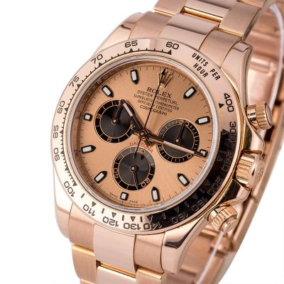 Rose Gold Men Fake Rolex Daytona 116505 Dial Pink Automatic 4130