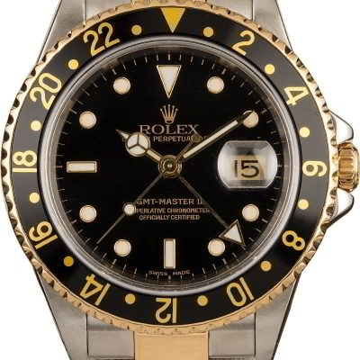 Dial Black Men Replica Rolex Gmt-master Ii 16713 18k Yellow Gold Oyster