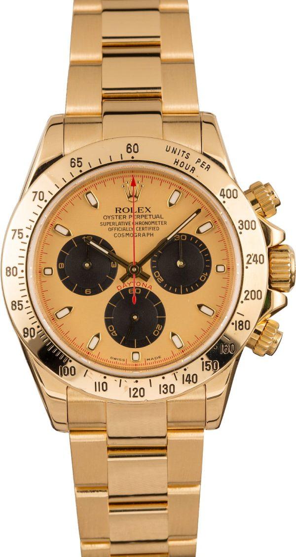 Yellow Gold Men Dial Champagne Fake Rolex Daytona 116528 Automatic 4130