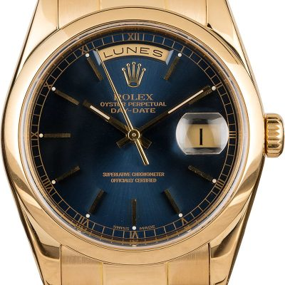 Case 36mm Men Fake Rolex Day Date 118208 Dial Blue 18k Yellow Gold