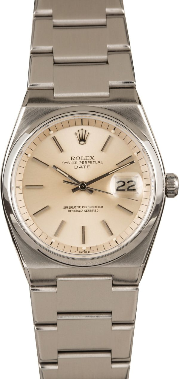 Men Automatic 1570 Dial Silver Fake Rolex Date 1530 Stainless Steel