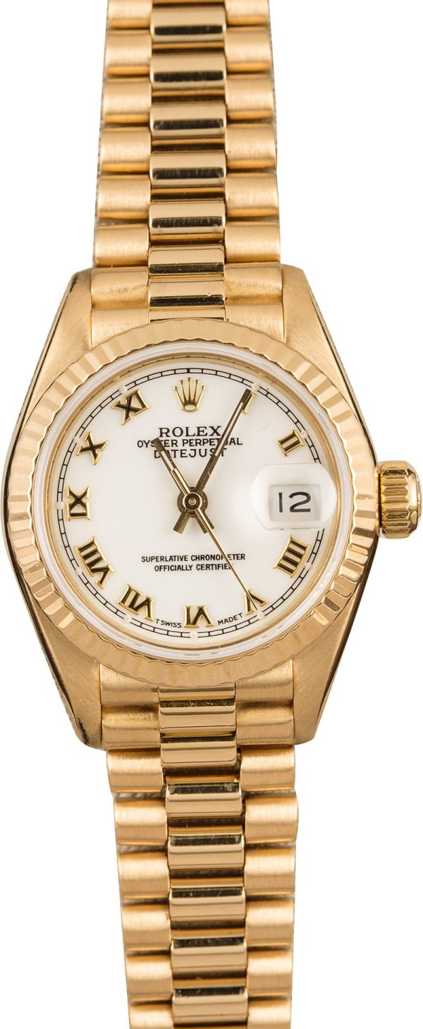 Case 26mm Ladies Replica Rolex Datejust 69178 18k Yellow Gold President
