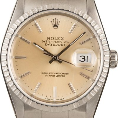 Rolex Datejust 16220 Men's Fake Dial Silver Index Stainless Steel Oyster