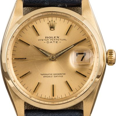 Rolex Date 1500 Fake Men's Dial Champagne 18k Yellow Gold Watch