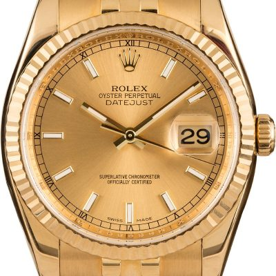 Rolex Datejust 116238 Replica Men's Case 36mm 18k Yellow Gold Watch