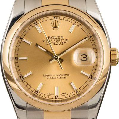 Rolex Datejust 116203 Men's Dial Champagne Automatic Movement 3135