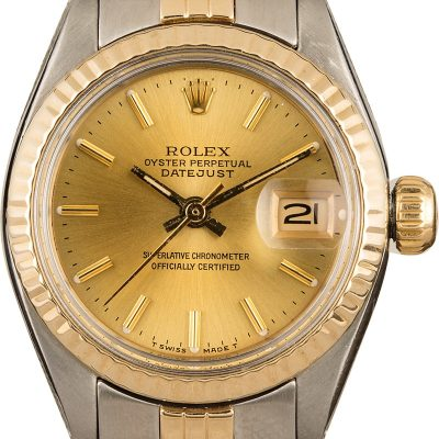 Rolex Datejust 6917 Fake Ladies Dial Champagne Index Stainless Steel