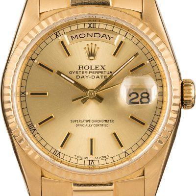 Rolex Day-date President 18238 Fake Men's Case 36mm 18k Yellow Gold