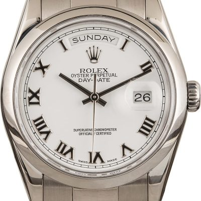 Rolex Day-date Fake Men's 18k White Gold Case 36mm Dial White Roman