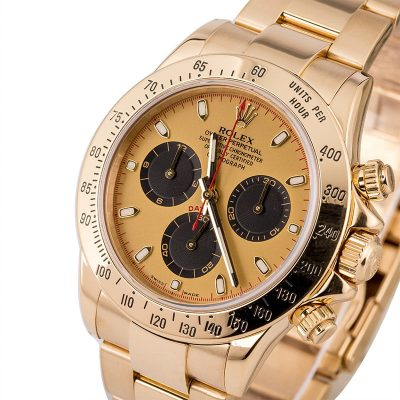 Rolex Daytona 116528 Fake Men's Case 40mm 18k Yellow Gold Oyster Automatic 4130