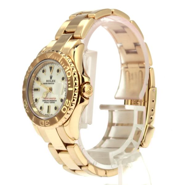 Rolex Yacht-master 69628 Fake Ladies Case 29mm Dial White 18k Yellow Gold Oyster
