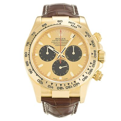 Rolex Daytona 116518 Automatic Gold/Brown Leather 40 MM Mens Watch