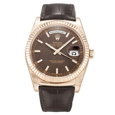 Rolex Day-Date 118135 Chocolate Baton Automatic 36 MM Mens Watch