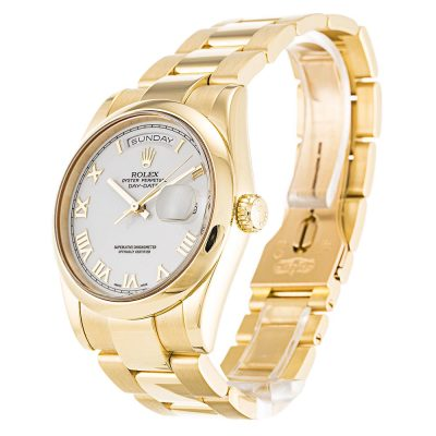 Rolex Day-Date 118208 Mens Automatic 36 MM White Roman Numeral Watch