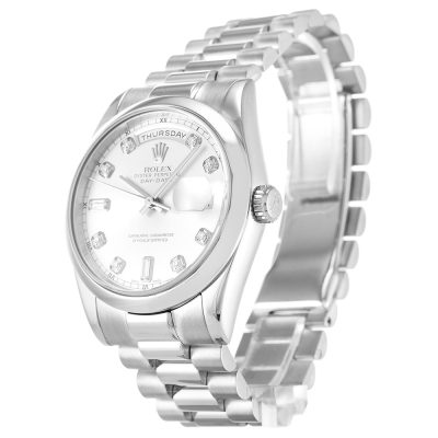 Rolex Day-Date 118209 Mens Automatic Silver Diamond 36 MM Watch