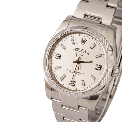 Air-king Rolex 114210 Men's Dial Silver Automatic 3130