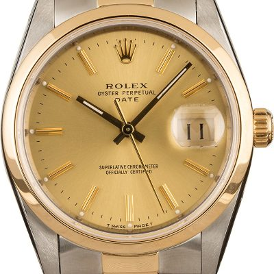 Rolex Date 15203 Men's Dial Champagne Stainless Steel