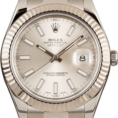 Rolex Datejust Ii 116334 Men's Dial Silver Stainless Steel Oyster
