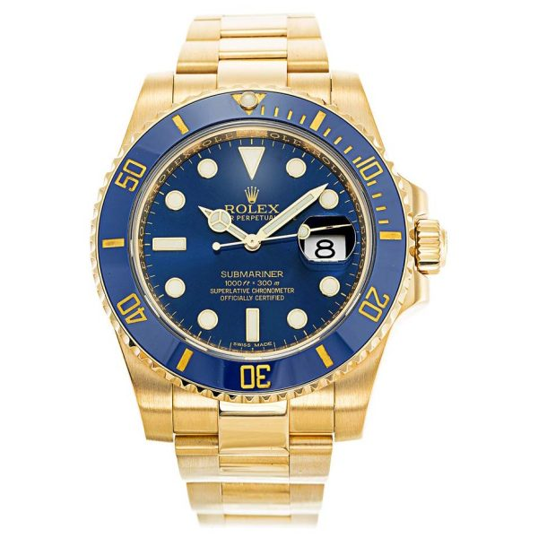 Rolex Submariner 116618LB Mens 40 MM Gold Plated Automatic Blue Watch