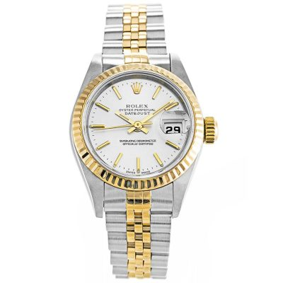 Rolex Datejust 79173 Ladies 26 MM White Automatic Gold Plated Watch