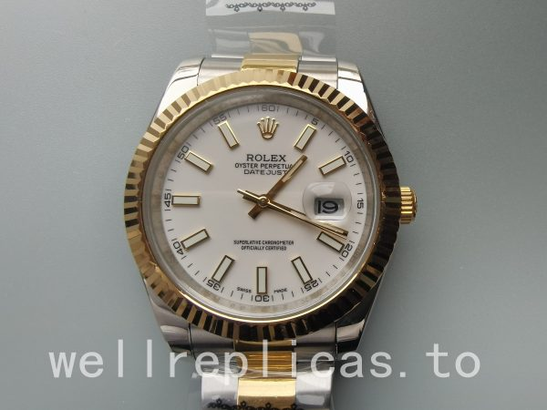 Rolex Datejust Oyster White Stk Asian 2813 Dial White 18k Yellow Gold