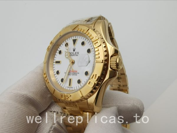 Rolex Yacht-master 16628 Mens Dial White 18k Yellow Gold