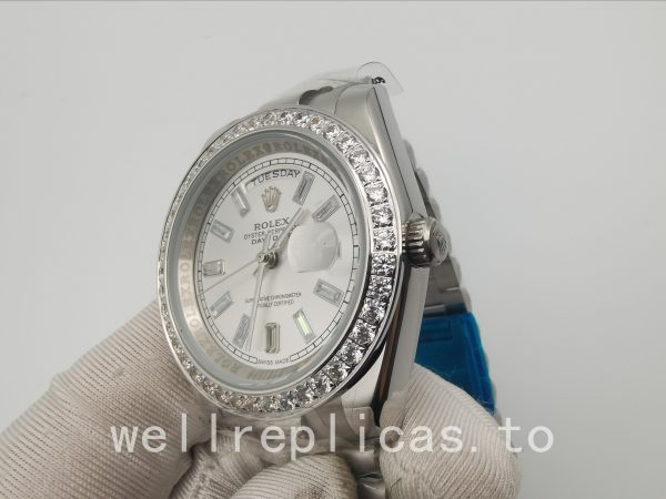 Rolex Day-date 228349rbr Men's Dial Silver 18kt White Gold