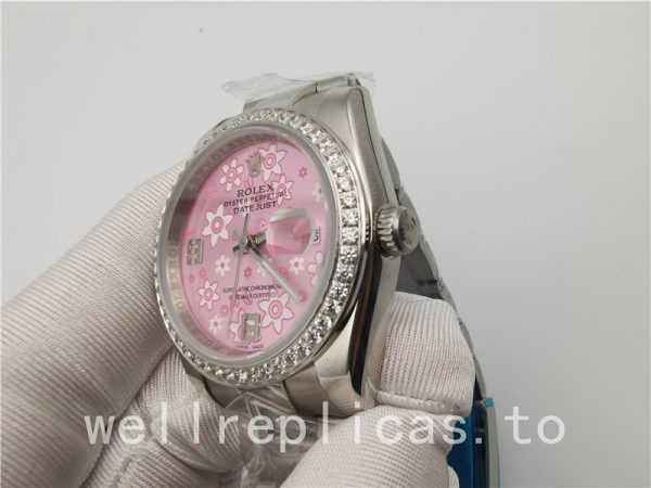Rolex Datejust Women's Dial Pink Floral Sapphire Stainless Steel