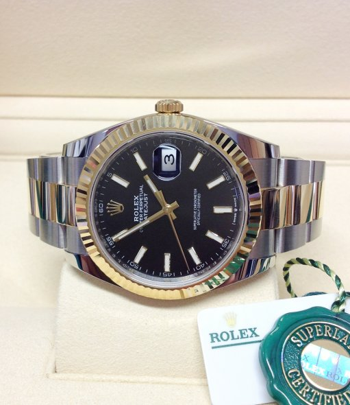 Rolex Datejust 126333 Steel Mens 41mm 18k Yellow Gold Automatic Watch