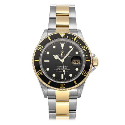 Rolex Submariner 16613 Black Dial 40mm Gold Strap Automatic Watch