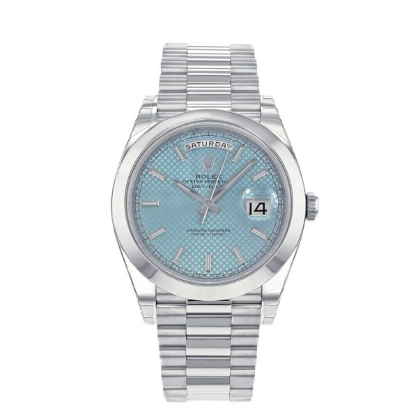 Rolex Day-Date 228206 Mens 40mm Blue Dial Silver Strap Automatic Watch