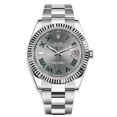 Rolex Datejust 126334 Men 41mm Gray Dial Silver Frame Watch