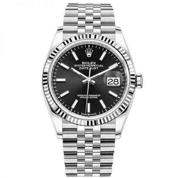 Rolex Datejust 126234 Women 36mm Black Dial Silver Frame Watch
