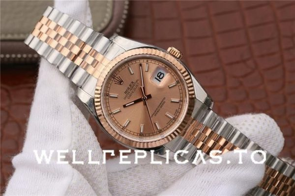 Rolex Datejust 116231 Replica Rose Gold Dial 36mm Ladys Silver Watch