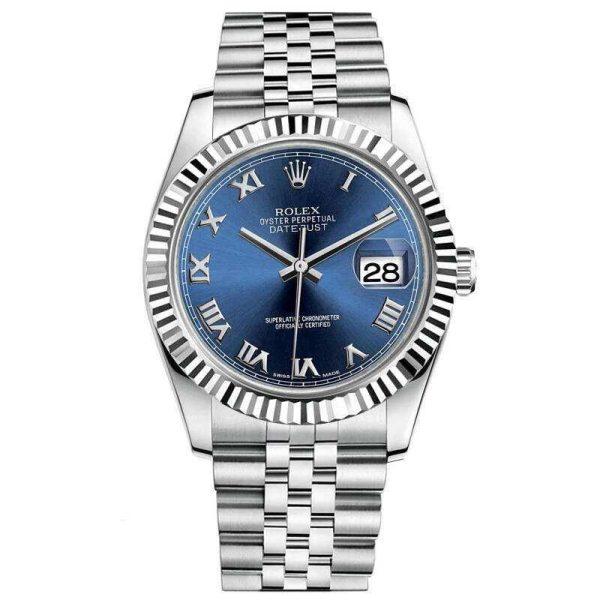Rolex Datejust 116234 Replica Blue Dial Lady 36mm Silver Watch