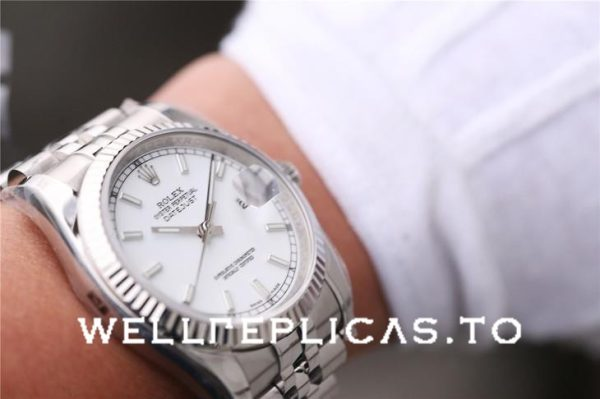 Rolex Datejust 116234 Replica White Dial Ladys Silver Frame 36mm Watch